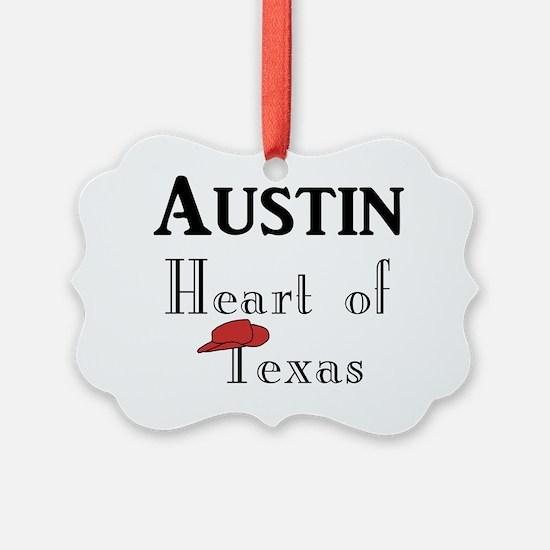 Austin_12x12_HeartOfTexas_v0Black Ornament