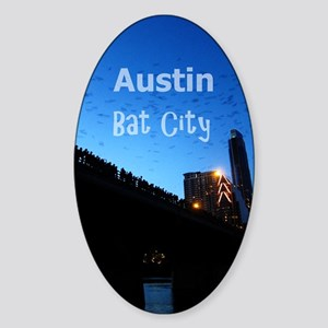 Austin_9x13.6_CongressAvenueBridgeB Sticker (Oval)