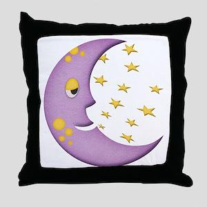 Sleepy Moon Throw Pillow