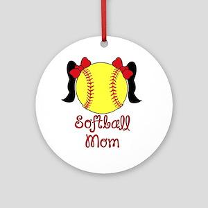 Softball mom black hair Round Ornament