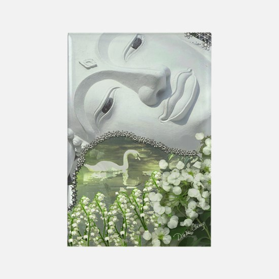 In the Garden - Quan Yin Flowers Rectangle Magnet