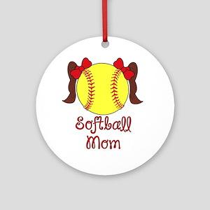 Softball mom brown hair Round Ornament