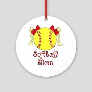 Softball mom blonde Round Ornament