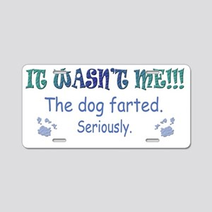 dog farted more dog breeds Aluminum License Plate