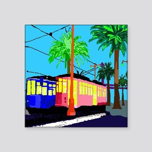 "cable car color shower curt Square Sticker 3"" x 3"""