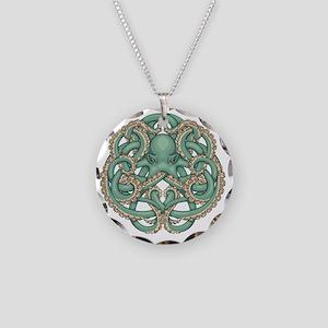 Octopus Emblem Necklace Circle Charm