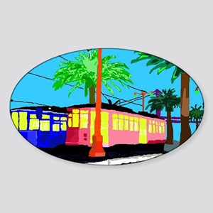 cable car of color large tray Sticker (Oval)