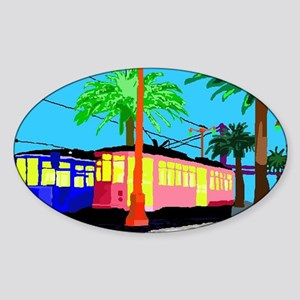 cable car lrg frame Sticker (Oval)