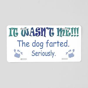 dog farted more dog breeds Aluminum License Plate