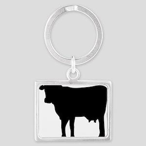 Black Cow Landscape Keychain