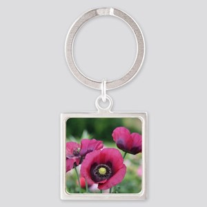 Monets Poppies Square Keychain