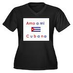 Amo a mi Cubana. Women's Plus Size V-Neck Dark T-S