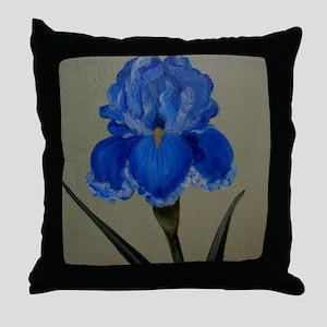 StephanieAM Blue Iris Throw Pillow