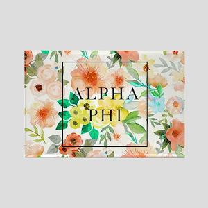 Alpha Phi Floral Rectangle Magnet