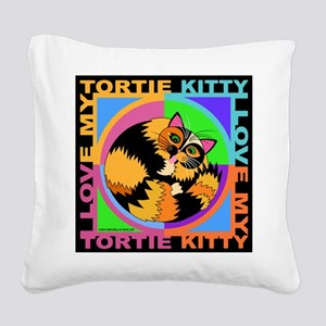 Tortie Kitty Cat Graphics Square Canvas Pillow