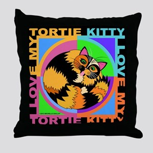 Tortie Kitty Cat Graphics Throw Pillow