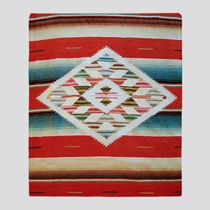 Vintage Red Mexican Serape Throw Blanket