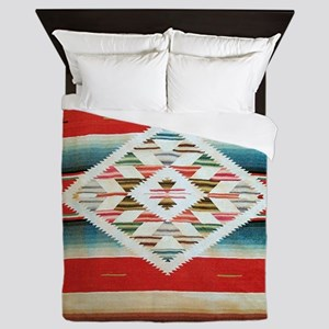 Vintage Red Mexican Serape Queen Duvet