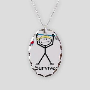 Cancer Survivor Necklace Oval Charm