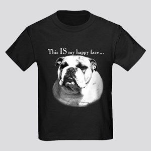 Bulldog Happy Face Kids Dark T-Shirt
