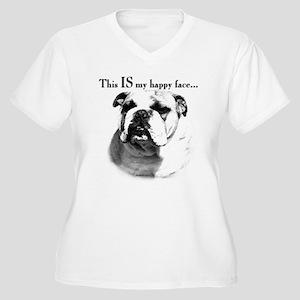 Bulldog Happy Face Women's Plus Size V-Neck T-Shir