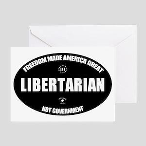 Libertarian BWL Oval Greeting Card