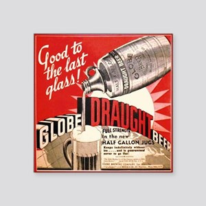 """Globe Draught Beer Square Sticker 3"""" x 3"""""""