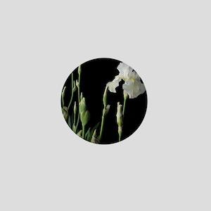 White Iris In The Black of Night Mini Button
