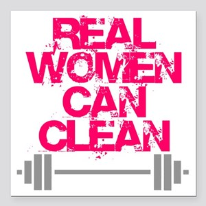 "Real Women Can Clean (Pi Square Car Magnet 3"" x 3"""