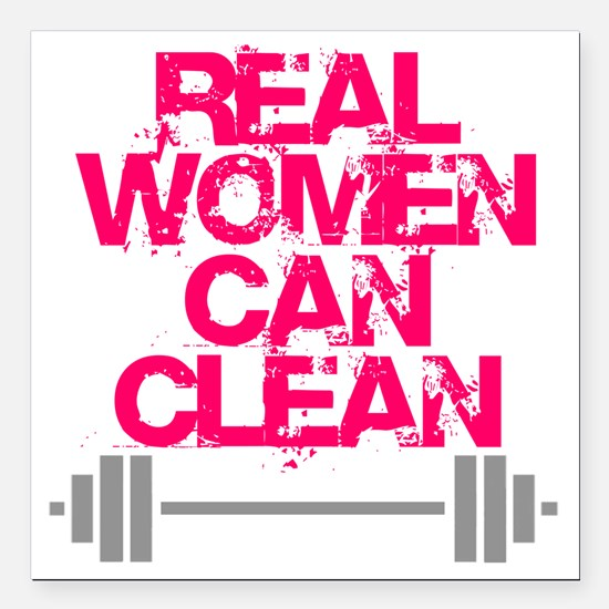 """Real Women Can Clean (Pi Square Car Magnet 3"""" x 3"""""""