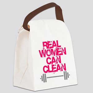 Real Women Can Clean (Pink) Canvas Lunch Bag
