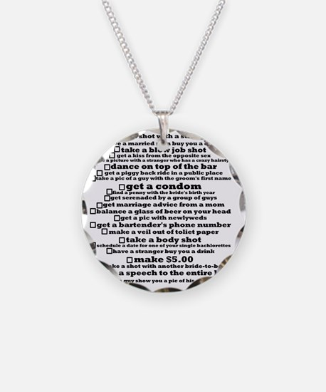 Bachelorette Party Checklist Necklace Circle Charm