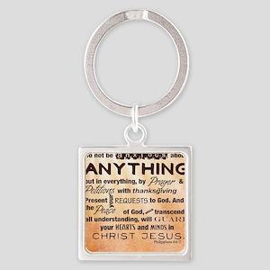 Philippians 4:6-7 Square Keychain