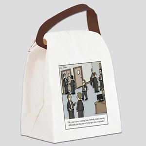 All White Office Canvas Lunch Bag