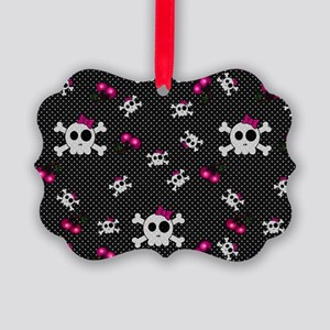 Girly Skulls Picture Ornament