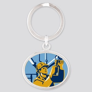 Pipefitter Maintenance Gas Worker Pl Oval Keychain