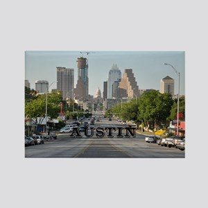 Austin_Rect_Color_DowntownWithCap Rectangle Magnet