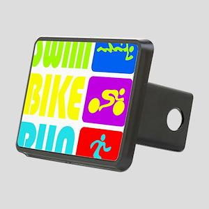 TRI Swim Bike Run Figures Rectangular Hitch Cover