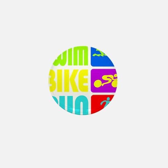 TRI Swim Bike Run Figures Mini Button