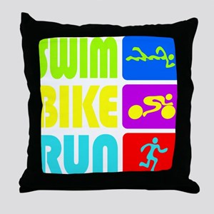 TRI Swim Bike Run Figures Throw Pillow