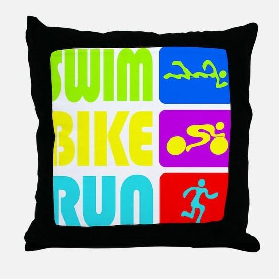 TRI Swim Bike Run Figures Throw Pillow