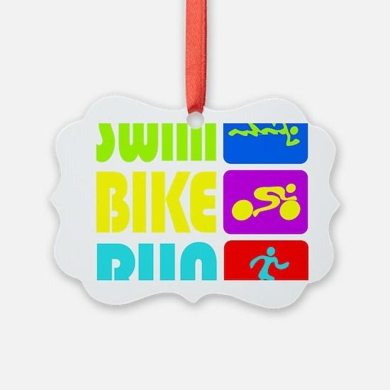 TRI Swim Bike Run Figures Ornament