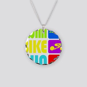 TRI Swim Bike Run Figures Necklace Circle Charm