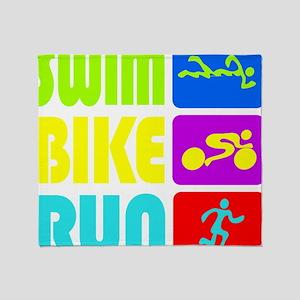 TRI Swim Bike Run Figures Throw Blanket