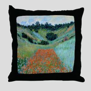 Claude Monet - Poppy Field near Giver Throw Pillow