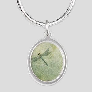 StephanieAM Dragonfly Silver Oval Necklace
