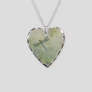 StephanieAM Dragonfly Necklace Heart Charm