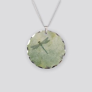 StephanieAM Dragonfly Necklace Circle Charm