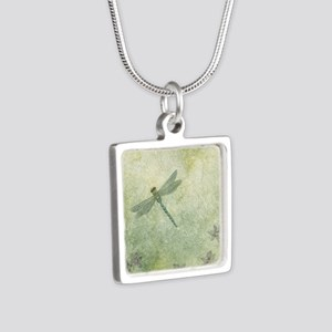 StephanieAM Dragonfly Silver Square Necklace