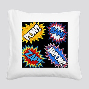 Hero Comic Pow Bam Zap Bursts Square Canvas Pillow
